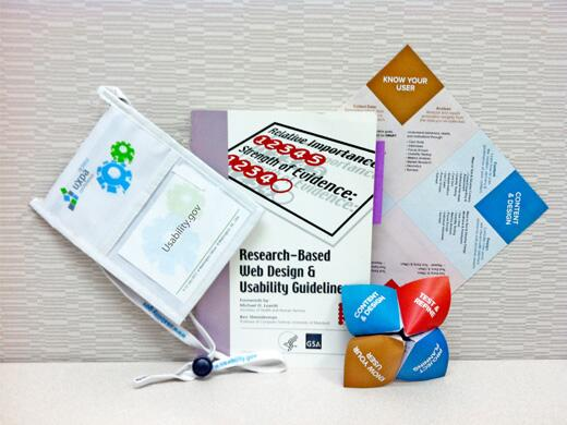 Photo of Research-based Web Design & Usability Guidelines, Usagami handout, and UXPA international badge