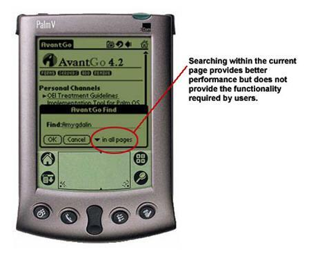 An image showing the search function on a PDA screen