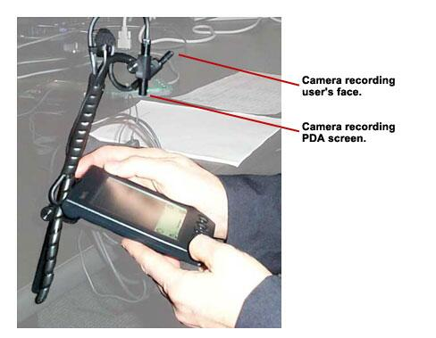 A close-up image of a user using a PDA with a camera recording the users actions.