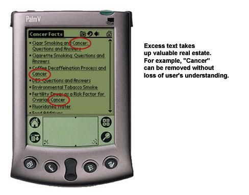 An image of so much content on a PDA screen the user must scroll to see it all.
