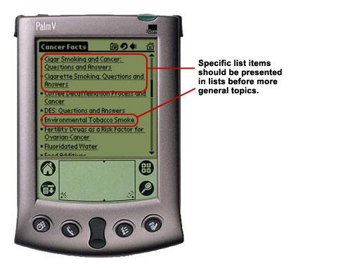 An image of spcific list items coming before more general topics on a PDA screen.