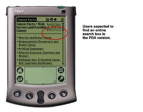 An image showing no online search box on a PDA screen.