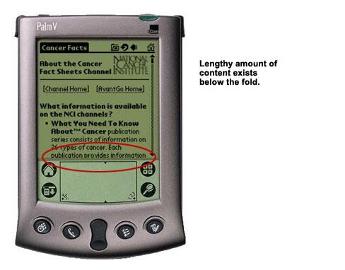 An image showing a great deal of content existing below the fold on a PDA screen.