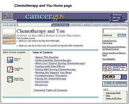 Chemotherapy and You home page