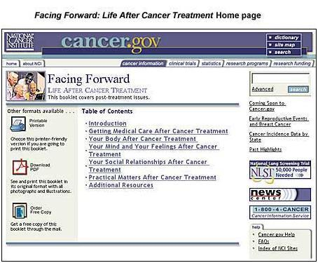 Facing Forward: Life After Cancer home page