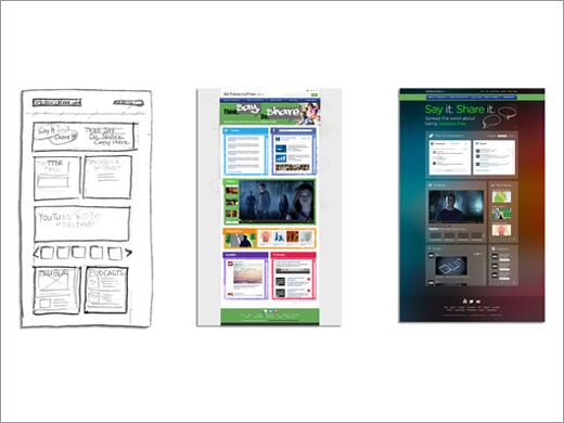 image of a website in wireframe, design comps, and live